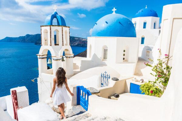Griechenland Santorini Häuser Frau