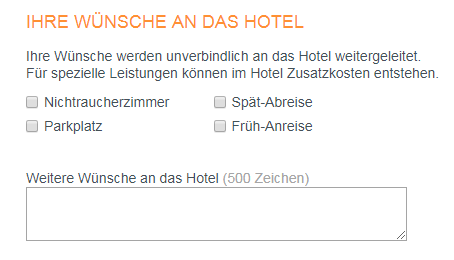 Hotel.de Wünsche