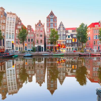 Niederlande Amsterdam Häuser Spiegelung