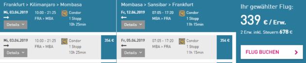 Frankfurt nach Mombasa