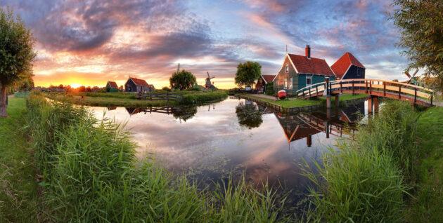 Niederlande Kanal Windmühle