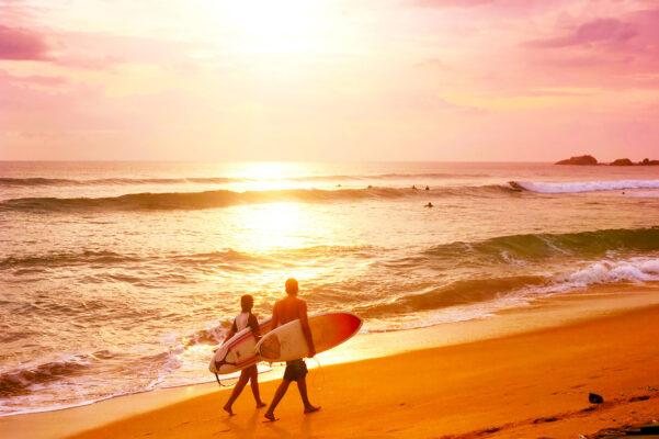 Sri Lanka Hikkaduwa Surfen Sonnenuntergang
