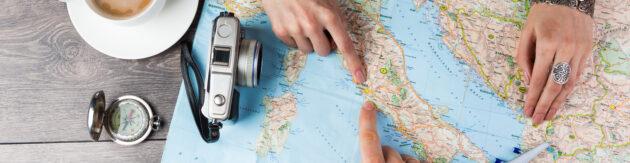 Weltkarte Reisen Urlaub planen Panorama