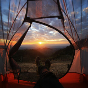 Campen Zelt Sonnenuntergang