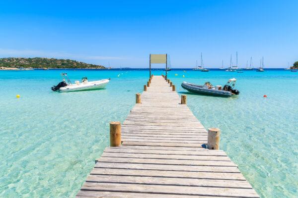 Frankreich Korsika Santa Guilia Strand Steg