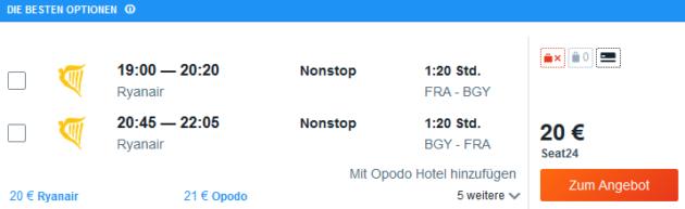 Flug Frankfurt Mailand