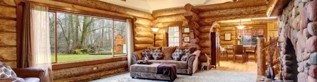 Luxus Chalet Wohnzimmer Panorama Holz