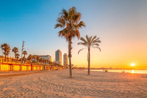 Spanien Barcelona Beach Sonnenuntergang
