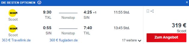 Flug Berlin Singapur