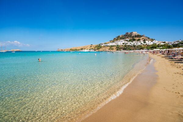 Griechenland Rhodos Ausblick Sandstrand