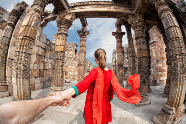 Indien Backpacking Qutub Minar Tower Frau