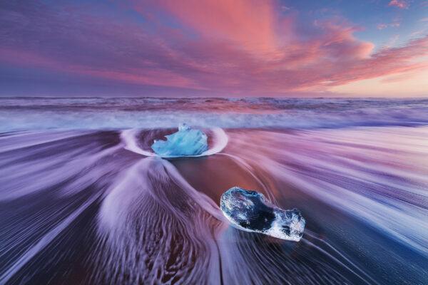 Island Jokulsarlon Beach Sonnenuntergang