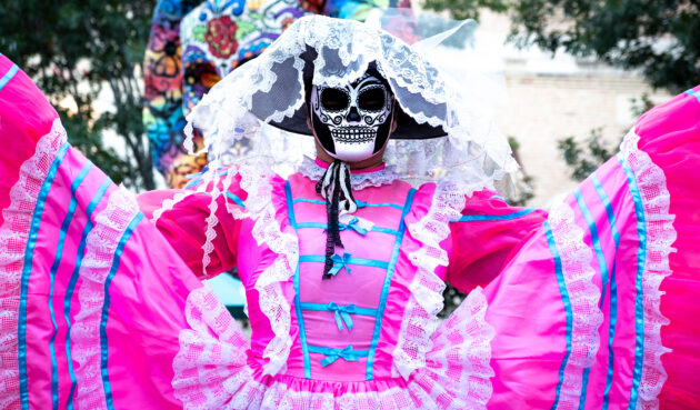 Mexiko Dia De Los Muertos pinke Verkleidung
