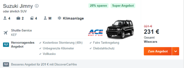 KEF Mietwagen
