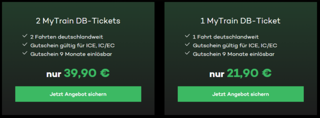 Mytrain Bahntickets Aktion