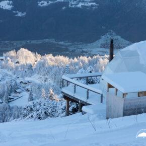 Whitepod Aussicht Schnee