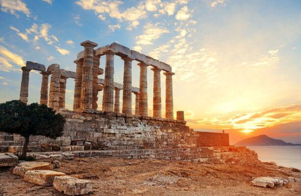 Griechenland Athen Sonneuntergang Poseidon Tempel