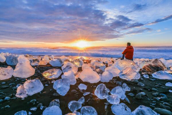 Island Jokulsarlon Gletscher Sonnenaufgang