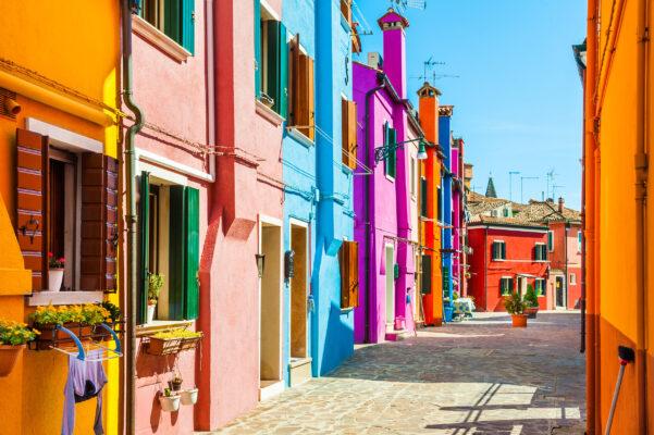 Italien Venedig Burano Insel Farbige Häuser