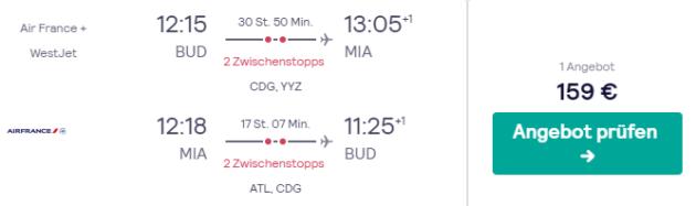 Flug Budapest Miami