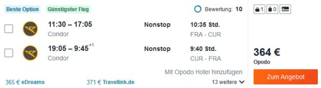 Flug Frankfurt Willemstad