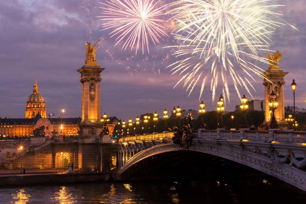Frankreich Paris Brücke Silvester