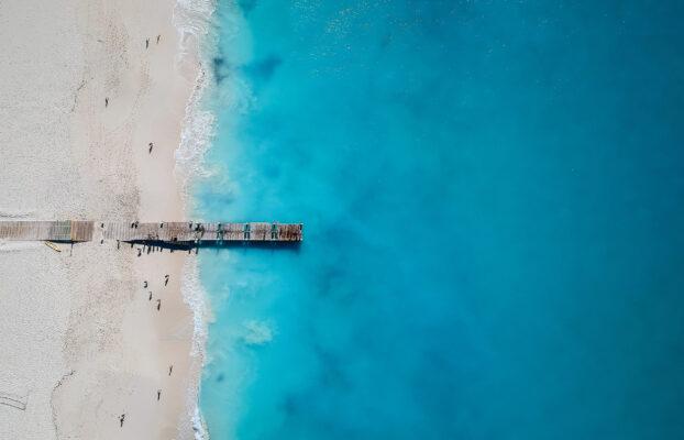 Karibik Turks Caicos Strand Vogelperspektive