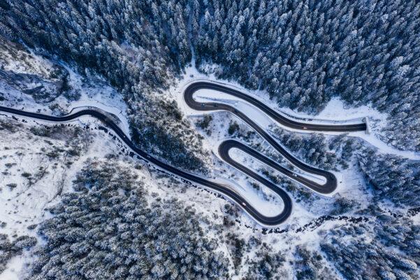 Rumaenien Winter Vogelperspektive
