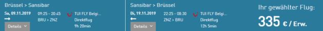 Flug Zürich Sansibar