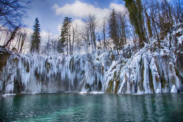 Kroatien Plitvicer Seen Wasserfall Winter