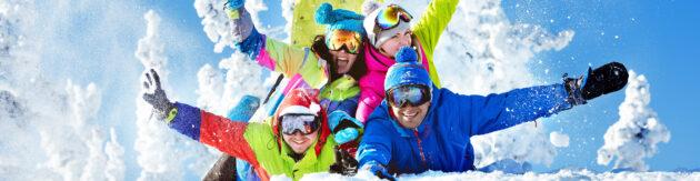 Skifahren Freunde Schnee Panorama