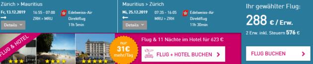 Zürich nach Mauritius