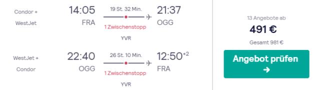 Flug Frankfurt Maui