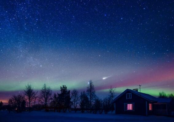 Finnland Lappland Cottage Polarlichter