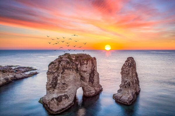 Libanon Beirut Küste Sonnenuntergang