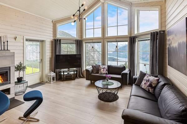 Norwegen Ferienhaus Lingas Wohnzimmer