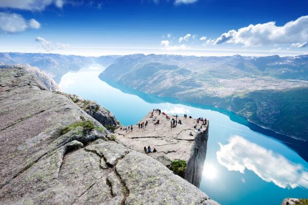 Norwegen Preikestolen von oben