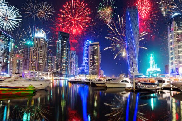 VAE Dubai Silvester Feuerwerk Wasser
