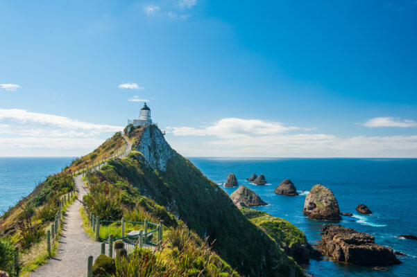 Neuseeland Südküste Nugget Point Leuchtturm