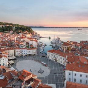 Slowenien Piran Altstadt Hafen