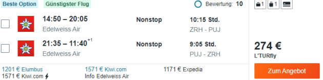 Zürich nach Punta Cana