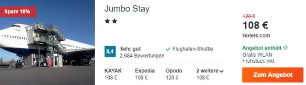 2 Tage Flugzeughostel Stockholm