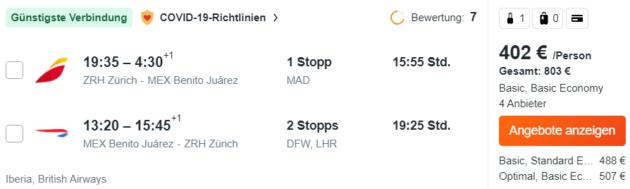 Flug Zürich Mexiko