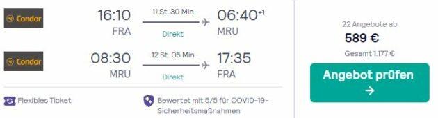 Frankfurt nach Mauritius