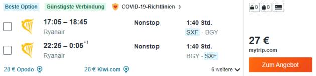 Flug Berlin Mailand