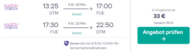 Flug Dortmund Fuerteventura