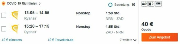 Kroatien Zadar Flug