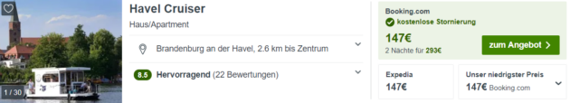 3 Tage Hausboot Havel Cruiser