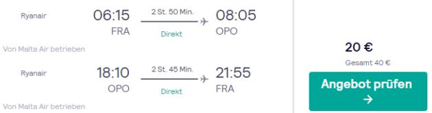 3 Tage Porto Flug