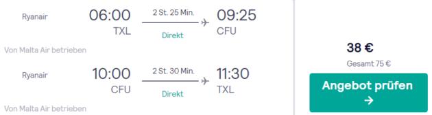 8 Tage Korfu Flug